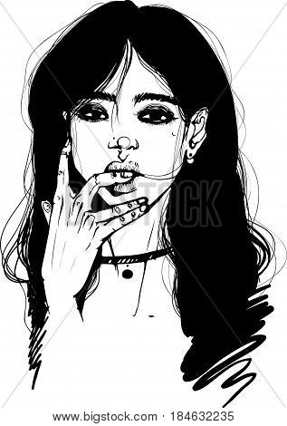 Portrait of a girl with black hair with choker vector graphics