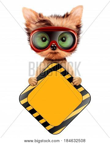 Funny dog in safety glasses with road sign isolated on white. Concepts for web banners, web sites. Fixing computer and repair center concept with cute dog. 3D illustration with clipping path