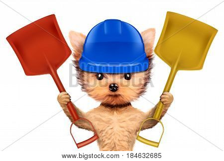 Funny dog in hard had with shovel isolated on white background. Concepts for web banners, web sites. Fixing computer and repair center concept with cute dog. 3D illustration with clipping path
