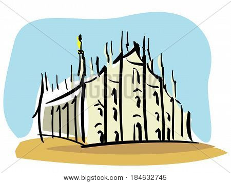 vector Illustration of the Duomo of Milan, the second largest Catholic cathedral in the world