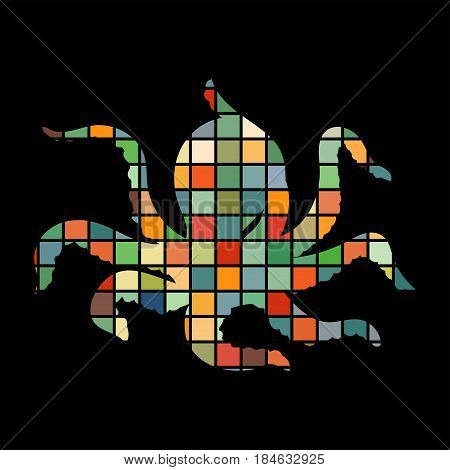 Octopus nautical color silhouette animal. Vector Illustrator.