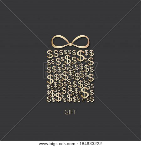 Gift box icon with dollar sign on dark background. Vector illustration.