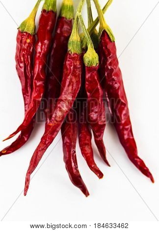 Dry chilli pepper on a white background