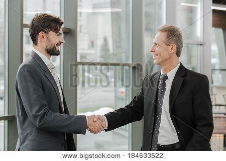 Stylish adult businessmen while working day in office. Businessmen shaking hands. Office interior with big window