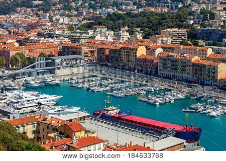 Boats, yachts and ships in port of Nice, France (view from above).