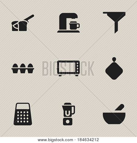 Set Of 9 Editable Meal Icons. Includes Symbols Such As Shredder, Oven, Drink Maker And More. Can Be Used For Web, Mobile, UI And Infographic Design.