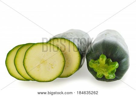 Close up of mini courgettes isolated on white background