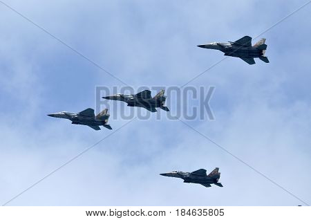 Air parade in the sky of Israel combat aircraft fighter bombers