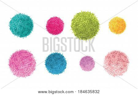 Vector Set of 8 Colorful Pom Poms Decorative Elements. Great for nursery room, handmade cards, invitations, baby designs. Cute Birthday party decor.