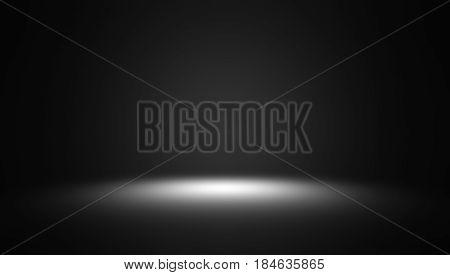 Spotlight on dark grey gradient abstract background / black-gray room studio background