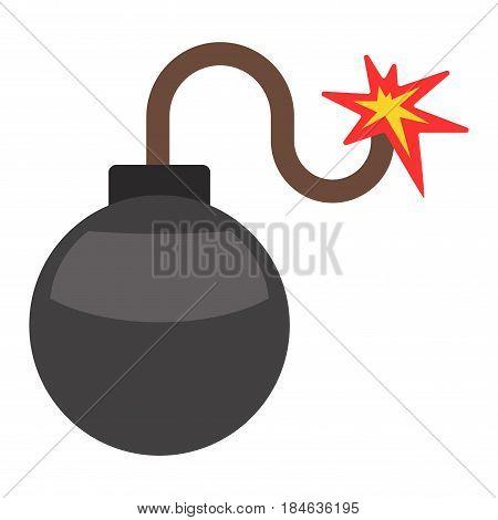 Bomb with burning wick weapon flat vector dynamite sphere. Cartoon sparkle flame danger explosive destruction detonator terrorism bang. Warning risk object.