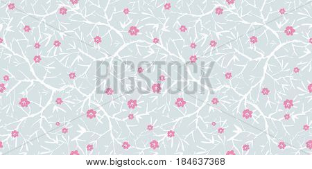 Vector silver grey, pink, and white blooming sakura bracnhes painted texture. Seamless repeat pattern background. Great for wallpaper, cards, fabric, wrapping paper, stationery projects. Repeat pattern design.