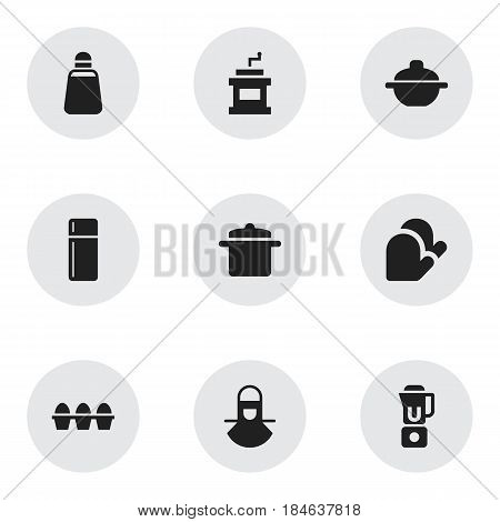 Set Of 9 Editable Food Icons. Includes Symbols Such As Cookware, Saucepan, Paprika And More. Can Be Used For Web, Mobile, UI And Infographic Design.