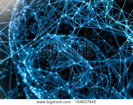 Cyber virtual space technology mesh attack, destroy sphere cyber geometry orb and polygonal lines and dots. Futuristic Technology, digitally generated image, 3d rendering