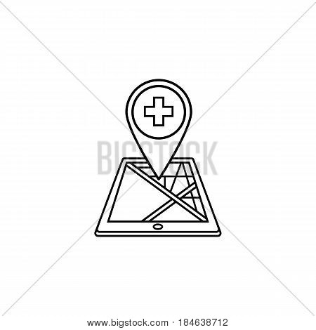 Hospital map pointer line icon, mobile gps navigation and location, cross pin on tablet vector graphics, a linear pattern on a white background, eps 10.