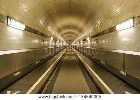 Straight view into the old St. Pauli Elbe Tunnel in Hamburg, Germany.