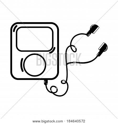 line mp3 player with headphones to listen music, vector illustration
