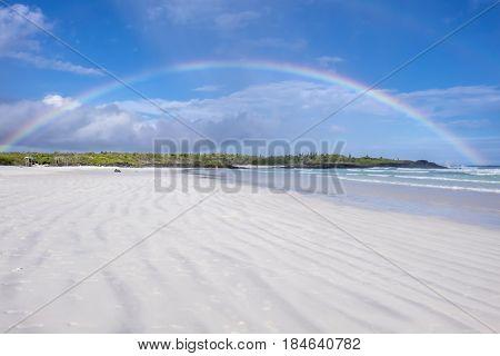 Rainbow Over Tortuga Bay or Beach in Galapagos Islands Ecuador