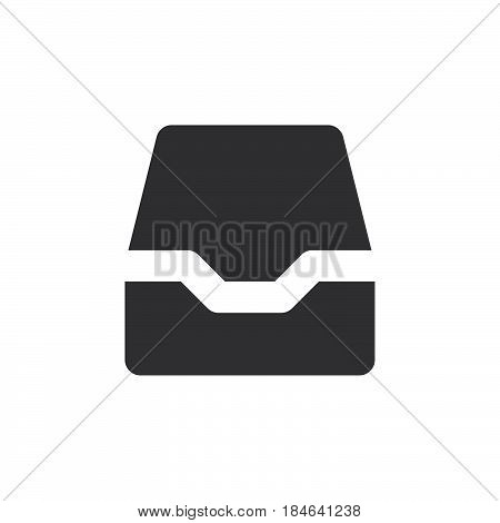 Inbox icon vector filled flat sign solid simple pictogram isolated on white. Symbol logo illustration