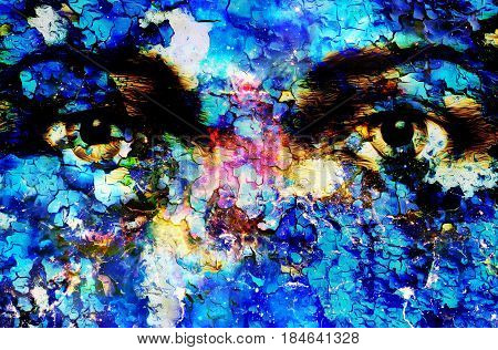 Jesus eye in cosmic space. computer collage version. Crackle effect