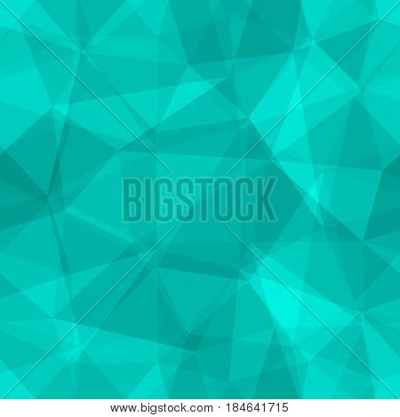 Abstract seamless light and dark turquoise overlapping triangles pattern for background. Transparency geometric layout for printing magazine cover, advertise presentation. Effect of a kaleidoscope.
