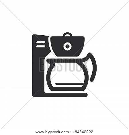 Coffee maker icon vector filled flat sign solid pictogram isolated on white. Symbol logo illustration