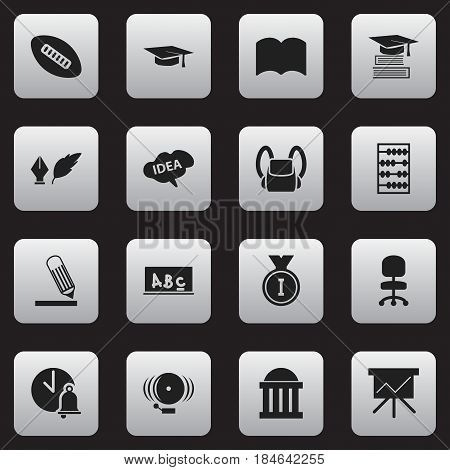 Set Of 16 Editable Education Icons. Includes Symbols Such As Education, Work Seat, Chart Board And More. Can Be Used For Web, Mobile, UI And Infographic Design.