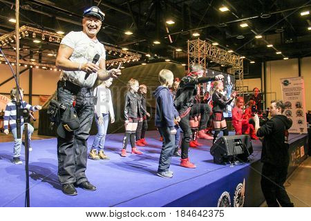 St. Petersburg Russia - 15 April, A group of hip hop dancers with entertainers,15 April, 2017. International Motor Show IMIS-2017 in Expoforurum. Dance show group of teenagers in the style of hip-hop.