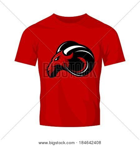Furious ram sport club vector logo concept isolated on red t-shirt mockup. Modern professional team badge mascot design. Premium quality wild ram animal athletic t-shirt tee print illustration.