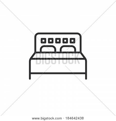 Double bed line icon outline vector sign linear pictogram isolated on white. Symbol logo illustration