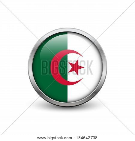 Flag of Algeria button with metal frame and shadow