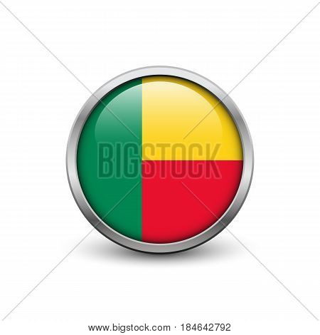 Flag of Benin button with metal frame and shadow