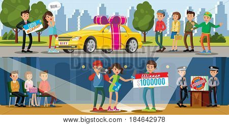 Lottery winners horizontal banners with woman winning new car and man holding check on one million dollars vector illustration