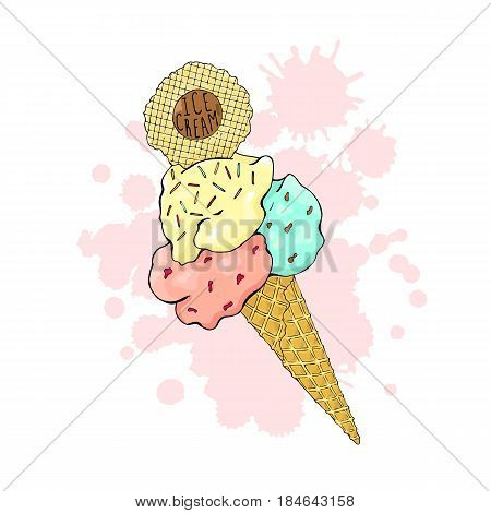 Ice cream in a waffle cone, three colors with sprinkles and wafers.