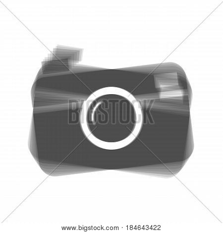 Digital photo camera sign. Vector. Gray icon shaked at white background.