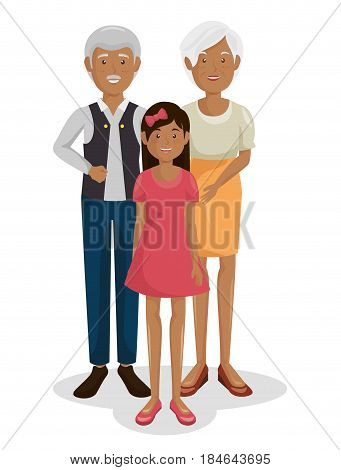 Couple of grand parents with granddaughter vector illustration design