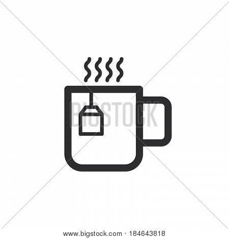 Cup of tea line icon outline vector sign linear pictogram isolated on white. Hot drink symbol logo illustration