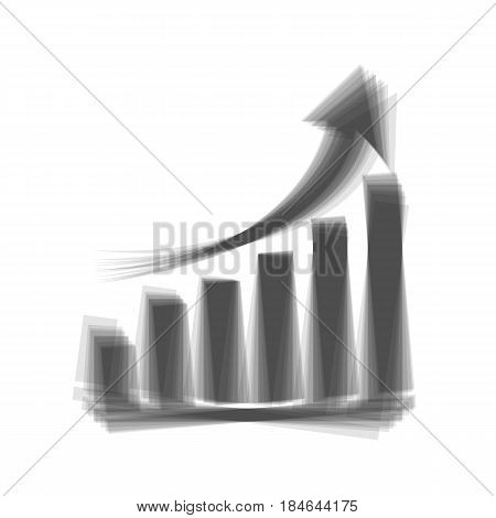 Growing graph sign. Vector. Gray icon shaked at white background.