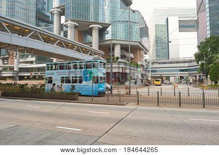 HONG KONG - CIRCA DECEMBER, 2015: double-decker tramway in Hong Kong at daytime.