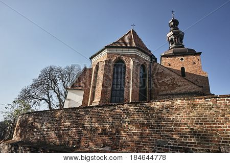 Gothic parish church with belfry in Gniezno
