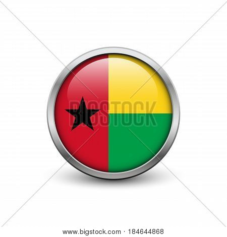 Flag of Guinea-Bissau button with metal frame and shadow
