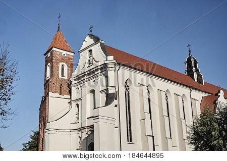 The baroque church with a Gothic tower in Gniezno