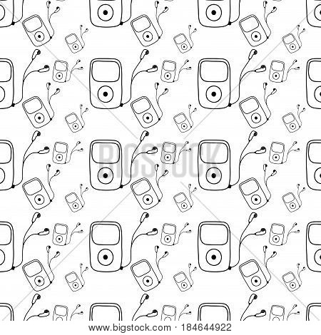 figure mp3 player with headphones to listen music background, vector illustration