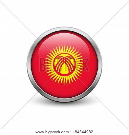 Flag of Kyrgyzstan button with metal frame and shadow