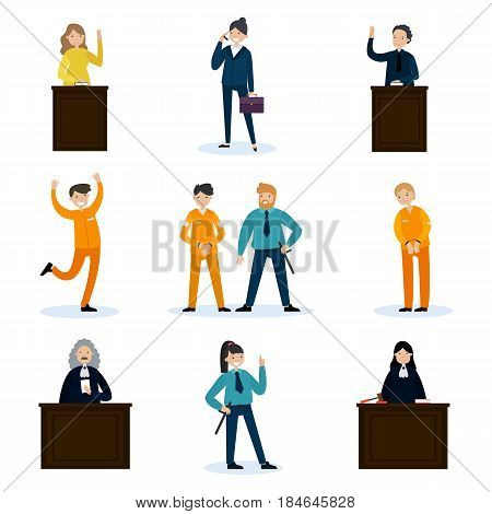 People in court set with judges lawyer defendants convoy witnesses and police officers isolated vector illustration