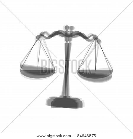 Scales balance sign. Vector. Gray icon shaked at white background.