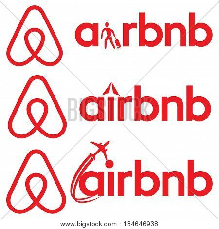 Airbnb vector logo sign. 3 logo for Airbnb application which is a platform for enabling people to lease or rent short-term lodging including vacation rentals, apartment rentals, homestays, hostel beds, or hotel rooms.