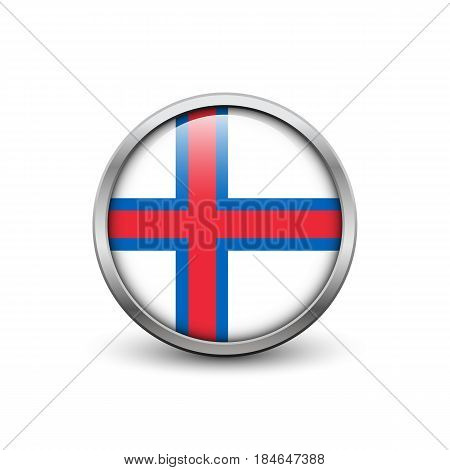 Flag of the Faroe Islands button with metal frame and shadow