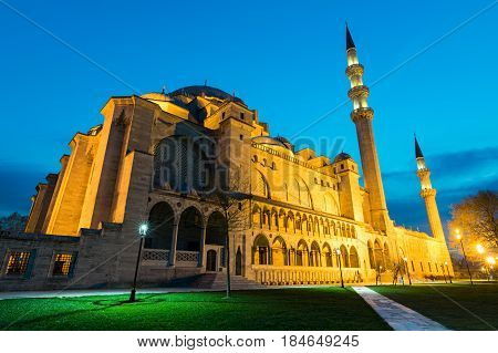 Night shot of Suleymaniye Mosque an an Ottoman imperial mosque located on the Third Hill of Istanbul Turkey and the second largest mosque in the city. built in 1557 designed by architect Sinan