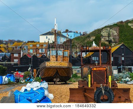 Fishing Boats On The Shore, Pebble Beach, Wooden Boats, Fishing And Tourist Industry